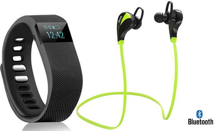 2 שעון מד צעדים ואוזניית ספורט