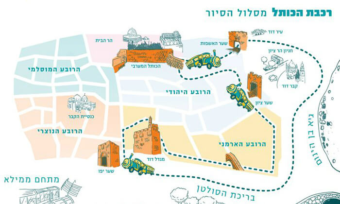 7 שובר לסיור מרתק בירושלים כולל נסיעה ברכבת הכותל