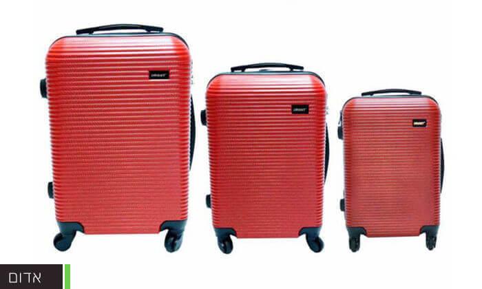 4 סט 3 מזוודות טרולי קשיחות וקלות משקל - משלוח חינם!