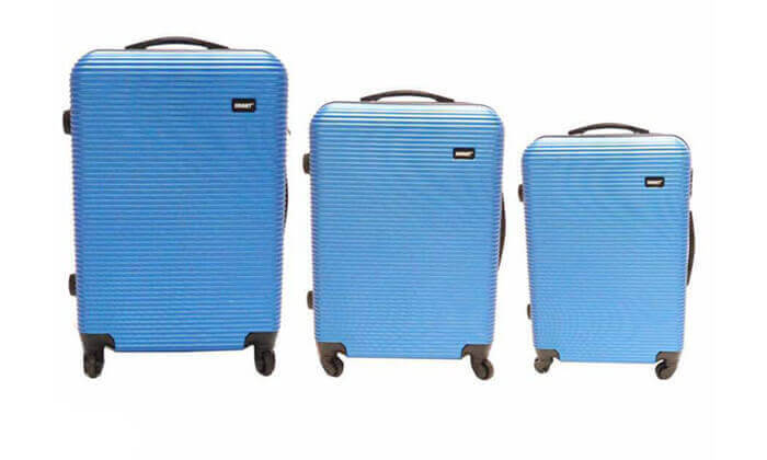 2 סט 3 מזוודות טרולי קשיחות וקלות משקל - משלוח חינם!