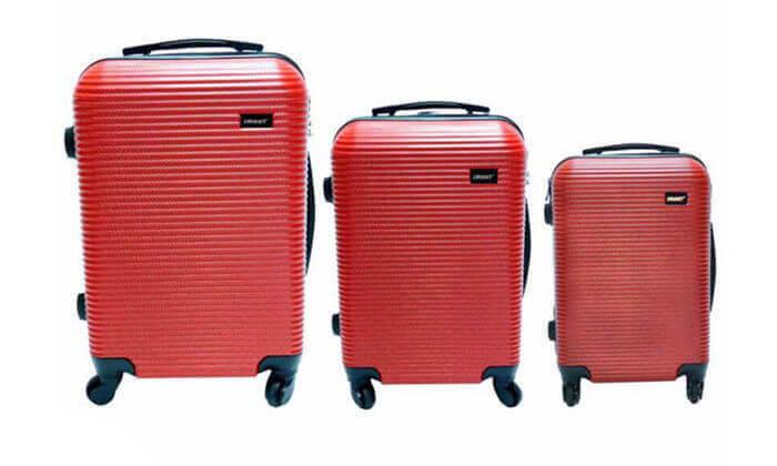 8 סט 3 מזוודות טרולי קשיחות וקלות משקל - משלוח חינם!
