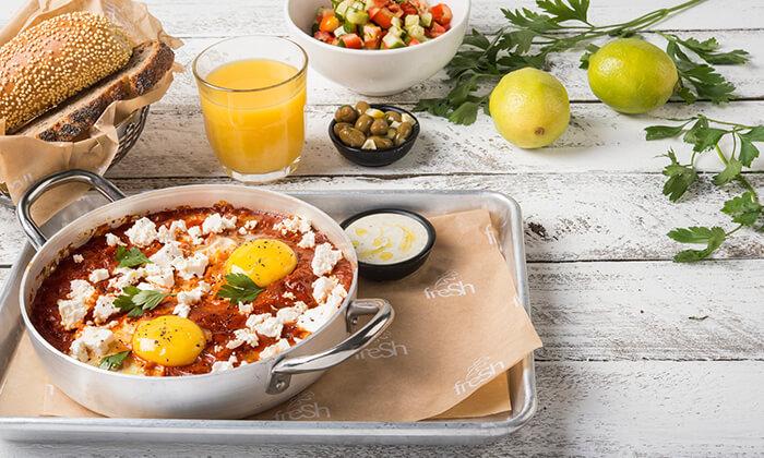 3 ארוחת בוקר זוגית או שובר הנחה על התפריט במסעדת פרש קיטשן הכשרה, בילו סנטר
