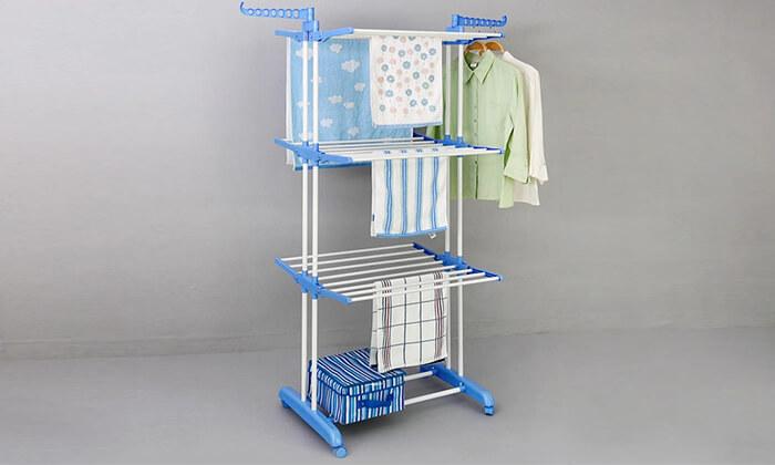 3 מתקן ייבוש כביסה מתקפל עם 3 קומות לתלייה - משלוח חינם