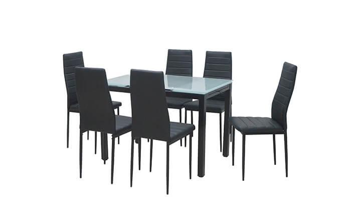 4 פינת אוכל עם 6 כסאות