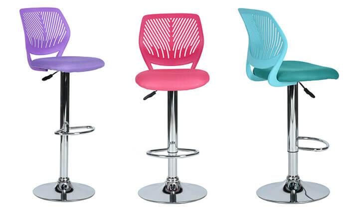 2 כסא בר עם מושב מרופד