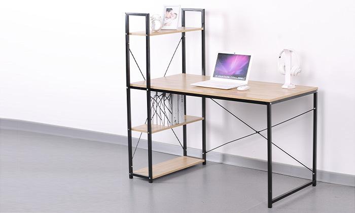 2 שולחן מחשב עם יחידת מדפים