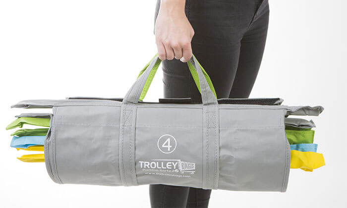 5 שני תיקי קניות Trolley Bags המקורי המתלבש בתוך עגלת הקניות הנפתחים ל4 תאים בכל תיק