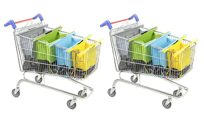 2 שני תיקי קניות Trolley Bags המקורי המתלבש בתוך עגלת הקניות הנפתחים ל4 תאים בכל תיק
