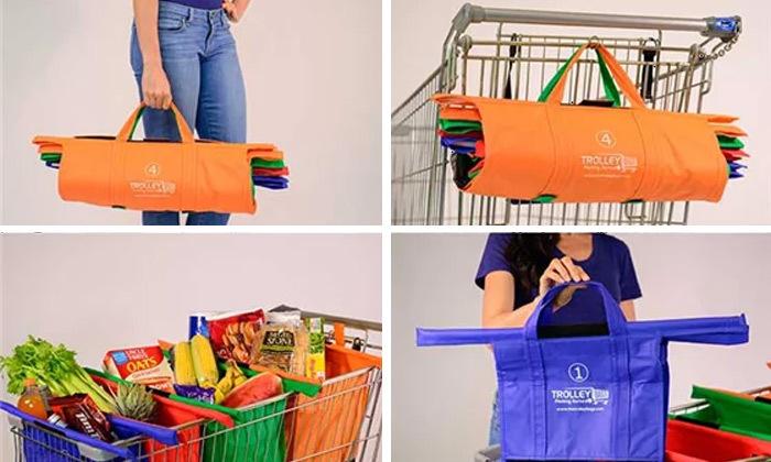 2 2 תיקי קניות Trolley Bags המקורי לעגלת הקניות - משלוח חינם