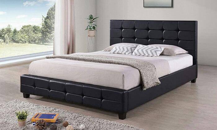 4 מיטה זוגית בריפוד דמוי עור HOME DECOR