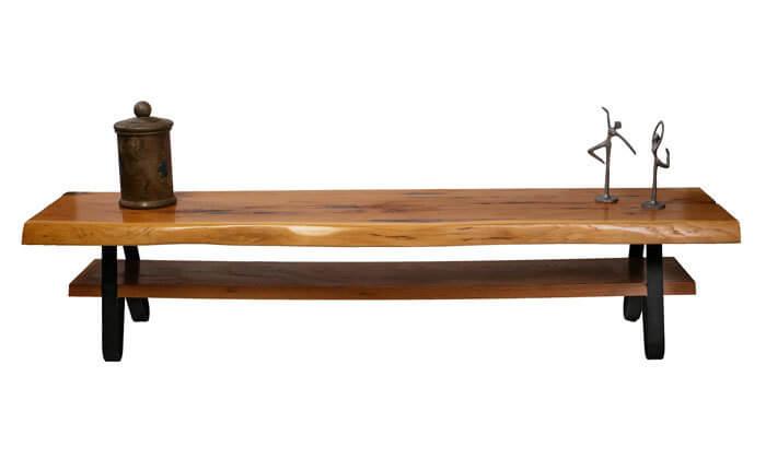 2 מזנון עץ אלון עם רגלי ברזל