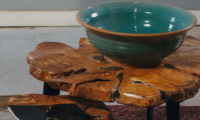 4 שולחן סלון מעץ זית