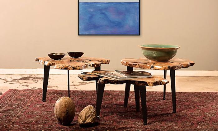 2 שולחן סלון מעץ זית