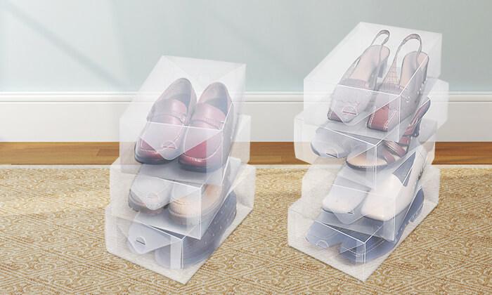 עשר קופסאות אחסון לנעליים - משלוח חינם