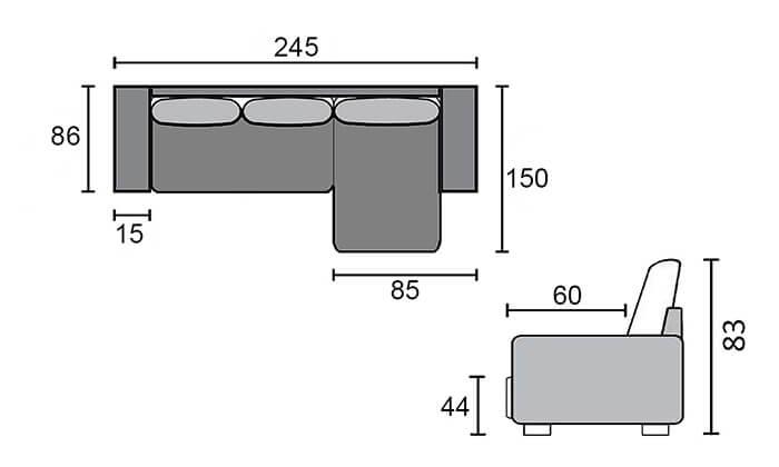 5 שמרת הזורע: ספה פינתית הנפתחת למיטה זוגית