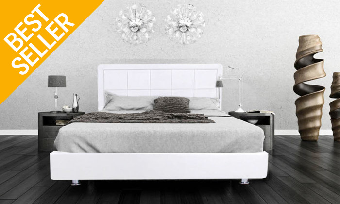 3 מיטה מרופדת עם מזרן (דגם 6012), כולל ארגז מצעים מתנה
