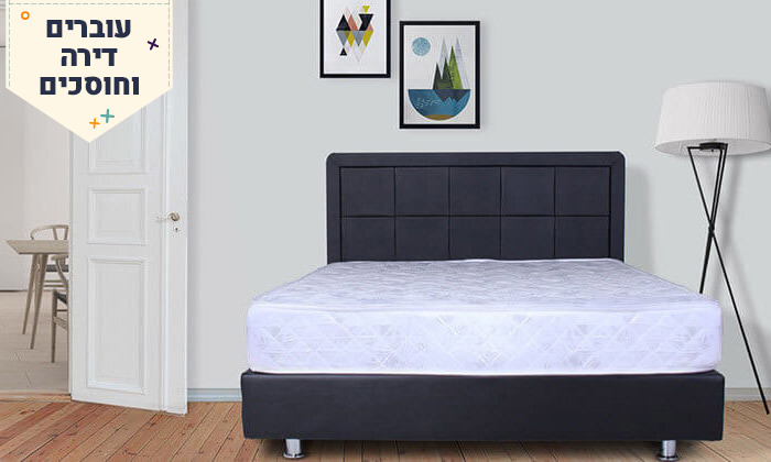 5 מיטה מרופדת עם מזרן וארגז מצעים - מידות וצבעים לבחירה