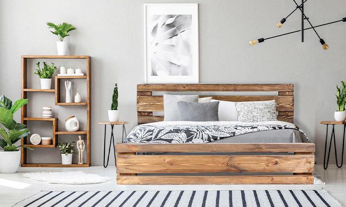 4 מיטה זוגית מעץ מלא עם מזרן