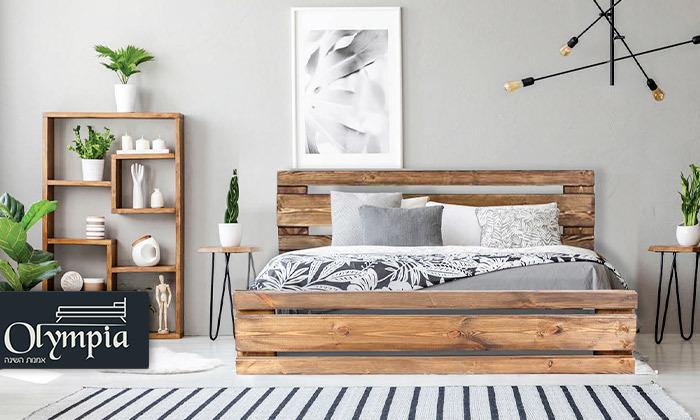 2 מיטה זוגית מעץ מלא עם מזרן