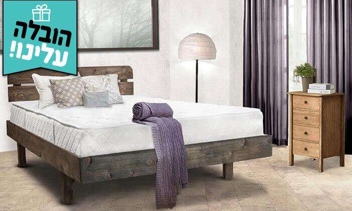 4 מיטה זוגית מעץ מלא כולל מזרן קפיצים - משלוח חינם