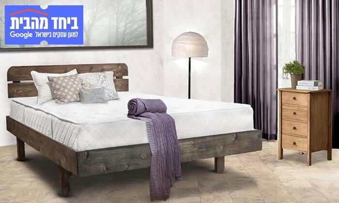 4 מיטה זוגית מעץ מלא - מזרן מתנה