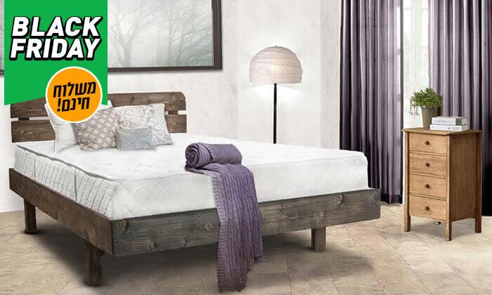 4 מיטה זוגית מעץ מלא כולל מזרן - משלוח חינם