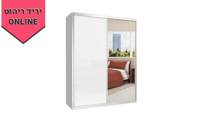 6  ארון הזזה כרמל, 2 דלתות זכוכית עם מראה