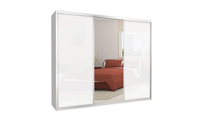 2  ארון הזזה כרמל, 3 דלתות זכוכית עם מראה