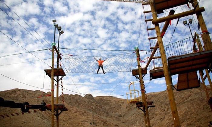 10 כניסה לפארק החבלים בחוות הגמלים אילת, כולל קפיצת בנג'ו