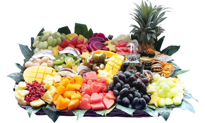 9 הזמנת מגשי פירות אקזוטיים עם 3 יחידות סושי פירות מתנה