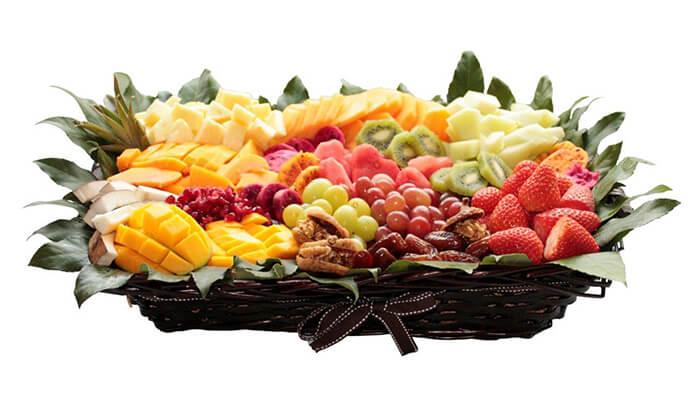13 הזמנת מגשי פירות אקזוטיים עם 3 יחידות סושי פירות מתנה