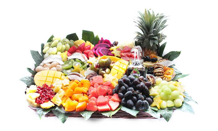 2 הזמנת מגשי פירות אקזוטיים עם 3 יחידות סושי פירות מתנה