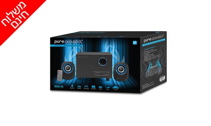 5 מערכת רמקולים למחשב Pure Acoustics עם חיבור Bluetooth - משלוח חינם