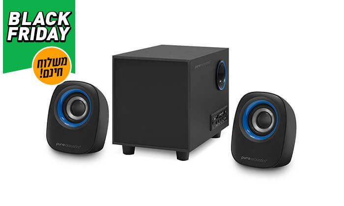 6 מערכת רמקולים למחשב Pure Acoustics עם חיבור Bluetooth - משלוח חינם