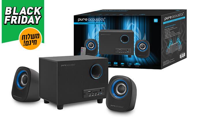 3 מערכת רמקולים למחשב Pure Acoustics עם חיבור Bluetooth - משלוח חינם