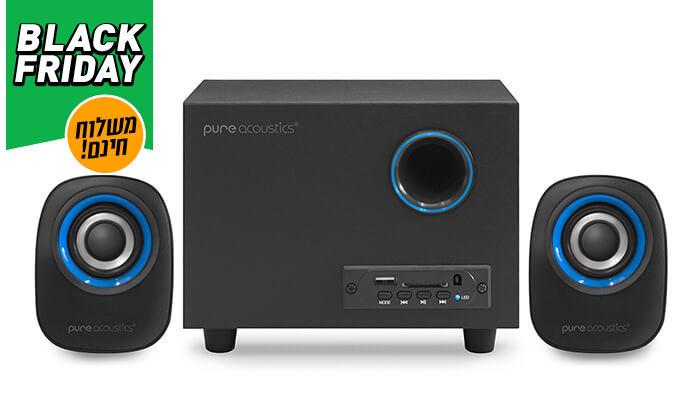 8 מערכת רמקולים למחשב Pure Acoustics עם חיבור Bluetooth - משלוח חינם