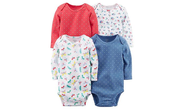 3 מארז 4 בגדי גוף לתינוק 100% כותנה Carter's - משלוח חינם!