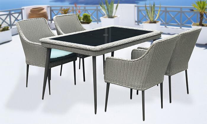 3 פינת אוכל לגינה עם שולחן אלומיניום ו-4 כיסאות