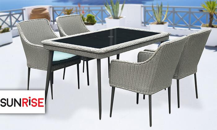 2 פינת אוכל לגינה עם שולחן אלומיניום ו-4 כיסאות