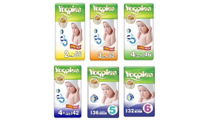 9 מארז ארבע חבילות חיתולי פרימיוםYoppies כולל חבילת משטחי החתלה
