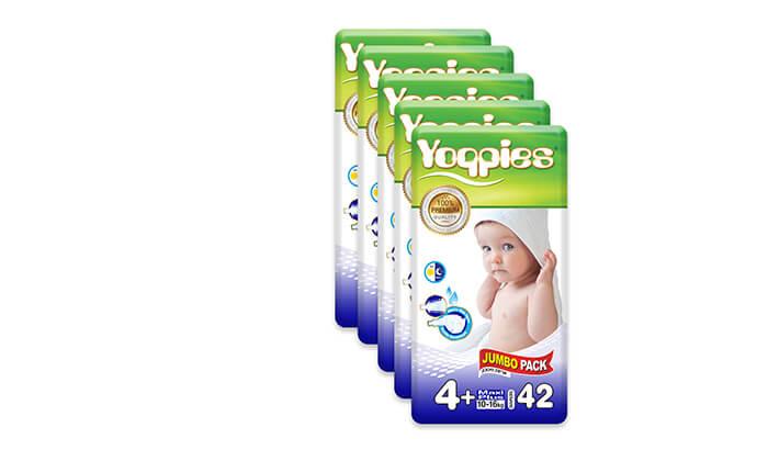 7 מארז חמש חבילות חיתוליפרימיום Yoppies כולל שלושה סינרים של דיסני