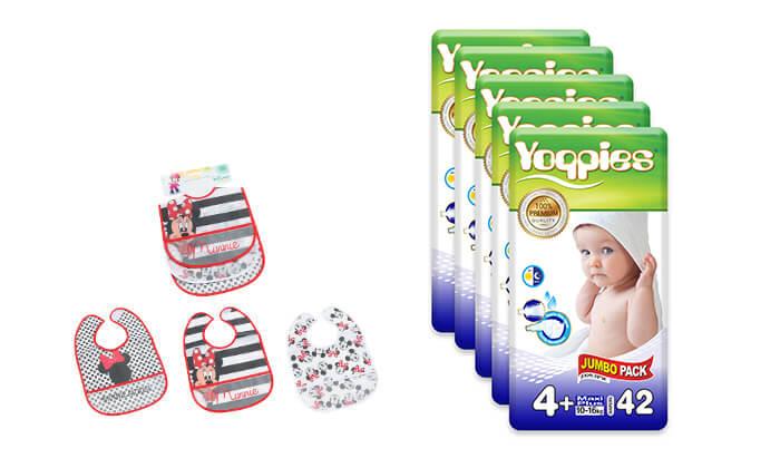 5 מארז חמש חבילות חיתוליפרימיום Yoppies כולל שלושה סינרים של דיסני