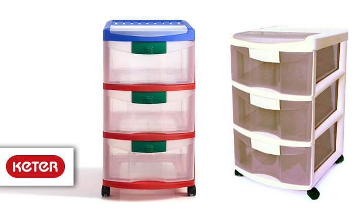 2 כתר: ארגונית פלסטיק 3 מגירות