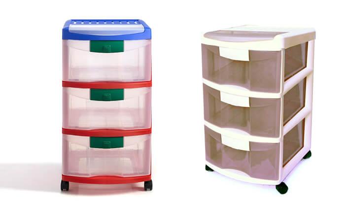 3 כתר: ארגונית פלסטיק 3 מגירות