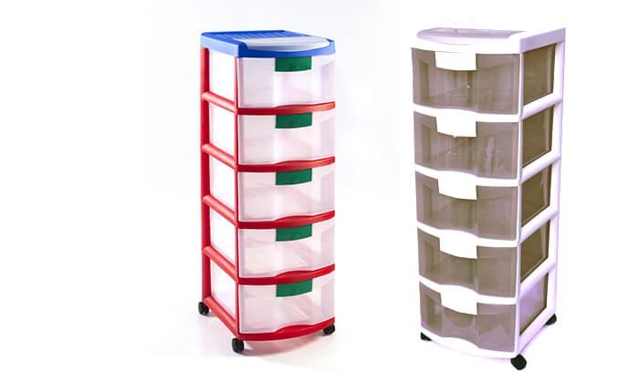 3 כתר: ארגונית פלסטיק 5 מגירות