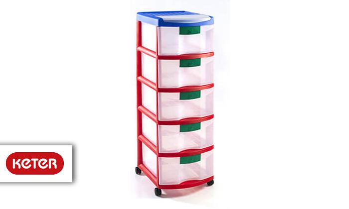 2 כתר: ארגונית פלסטיק 5 מגירות