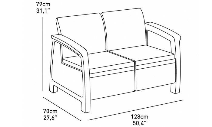 4 כתר: מערכת ישיבה בעיצוב דמוי ראטן