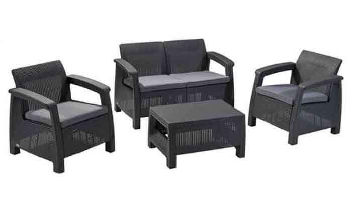7 כתר: מערכת ישיבה בעיצוב דמוי ראטן
