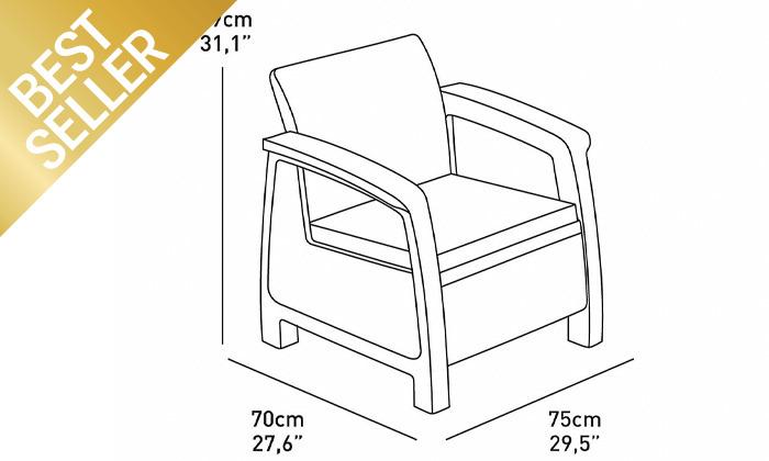 5 כתר: מערכת ישיבה בעיצוב דמוי ראטן כולל שולחן אחסון