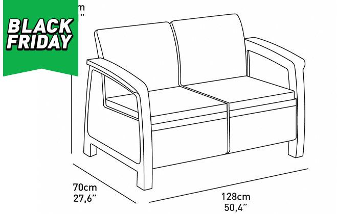 4 כתר: מערכת ישיבה בעיצוב דמוי ראטן כולל שולחן אחסון